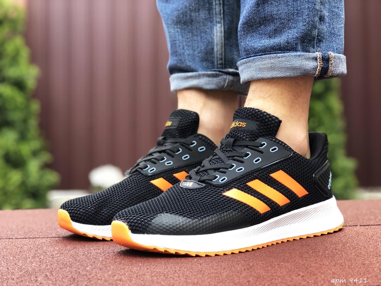 Мужские летние кроссовки Adidas,сетка,черно белые с оранжевым