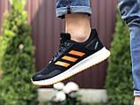 Мужские летние кроссовки Adidas,сетка,черно белые с оранжевым, фото 2