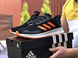 Мужские летние кроссовки Adidas,сетка,черно белые с оранжевым, фото 3