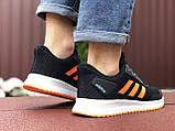Мужские летние кроссовки Adidas,сетка,черно белые с оранжевым, фото 4