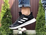 Мужские летние кроссовки Adidas,сетка,черно белые, фото 2