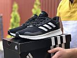 Мужские летние кроссовки Adidas,сетка,черно белые, фото 3