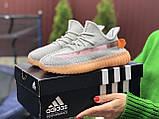Модные кроссовки Adidas x Yeezy Boost,серые с персиком, фото 2