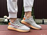 Модные кроссовки Adidas x Yeezy Boost,серые с персиком, фото 4