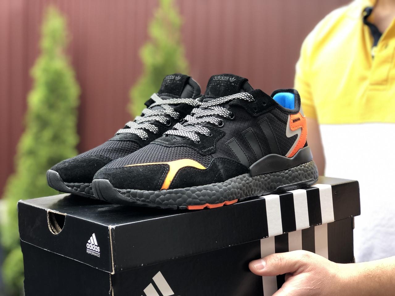 Мужские кроссовки Adidas Nite Jogger Boost 3M,черные с оранжевым