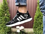 Мужские кроссовки Adidas Nite Jogger Boost 3M,черно белые, фото 2