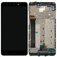 LCD Дисплей Модуль Экран для Xiaomi Redmi Note 4, MediaTek + touchscreen, черный, с передней панелью