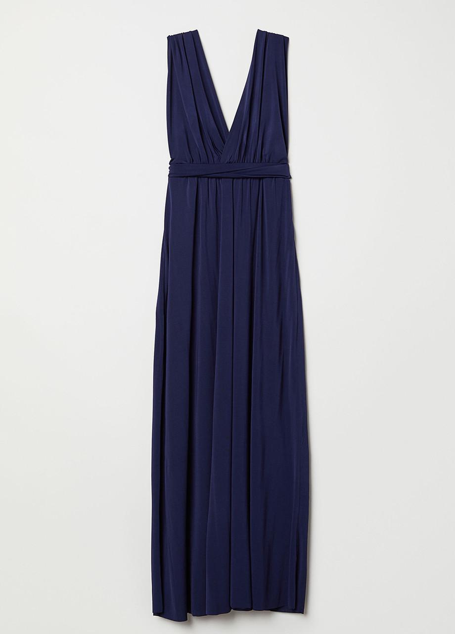 Темно-синее платье H&M однотонное