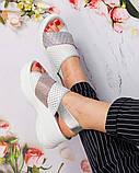 Пудра и серебро! Красивые женские босоножки на платформе, со стразами, фото 2