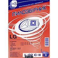 Мешок пылесборник L-02 для пылесосов LG бумажный, 5штук + сменный фильтр, Слон, 801-L02-2