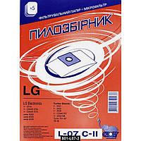 Мешок пылесборник L-07 для пылесосов LG бумажный, 5штук + сменный фильтр, Слон, 801-L07-2