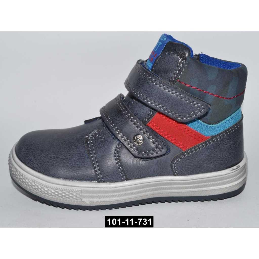 Демисезонные ботинки для мальчика, 22-24 размер, кожаная стелька, супинатор, 101-11-731