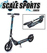 Двухколесный складной самокат с большими колесами Scale Sports Scooter 460, Черно-синий
