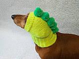 Одежда для собаки вязанная шапка для собаки Динозавр, фото 5