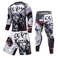 Компрессионная одежда для спорта рашгард+футболка+шорты+леггинсы
