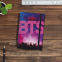 Блокнот-записник/скетчбук з абстрактним малюнком у 9-и кольорах. Червоно-синій BTS.