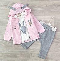Детский костюм для девочки с ушками 3-ка размеры 68-74