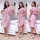 Платье  хлопковое рубашечного кроя с пояском, 3 цвета, Р-р.норма (S,M,L) батал (48,50,52,54) Код 733Д, фото 5