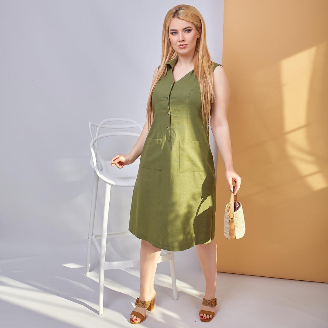 Женское летнее платье лен  большие размеры