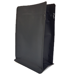 Пакет с плоским дном 120*200 дно (40+40) чёрный, боковой zip-замок