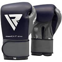 Боксерские перчатки RDX Leather Pro C4 Blue 12 ун., фото 1