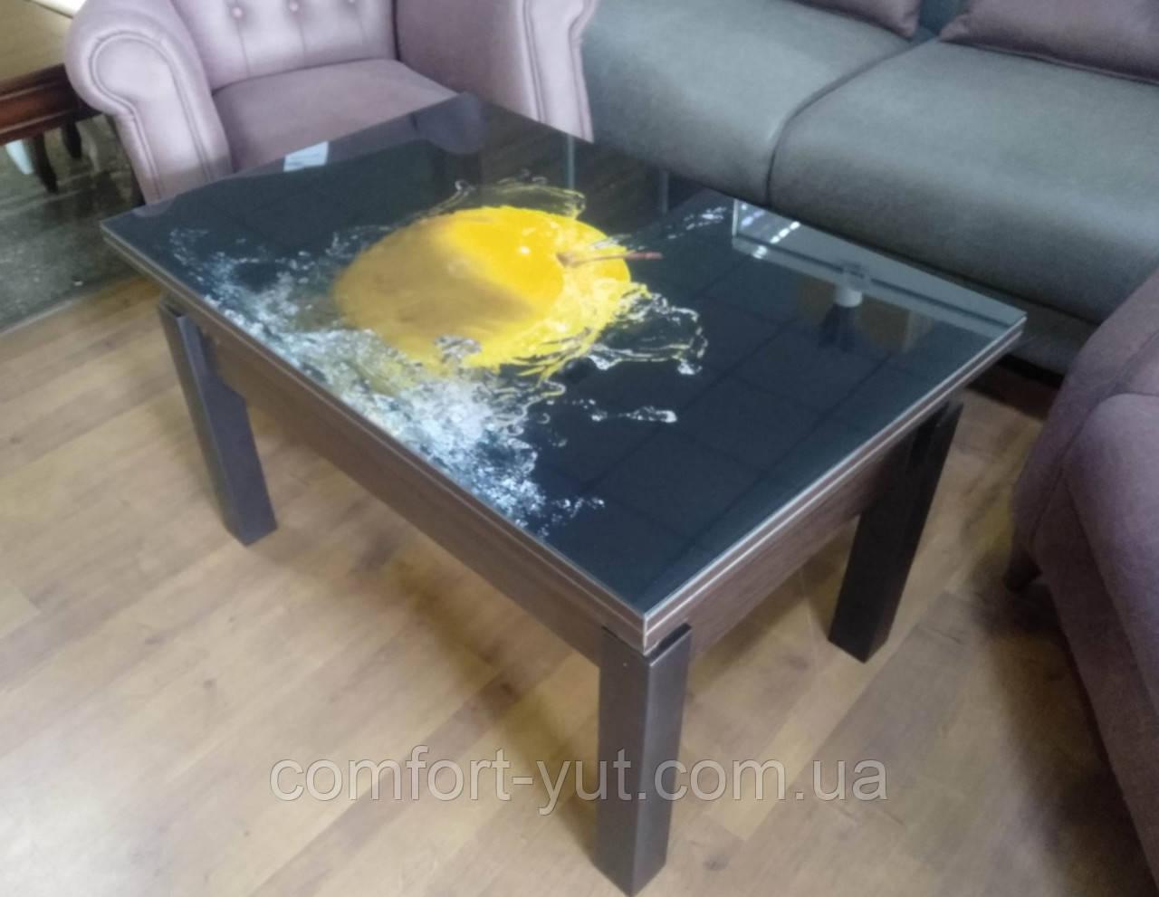 Стол трансформер Флай  венге магия со стеклом 06_144, журнально-обеденный