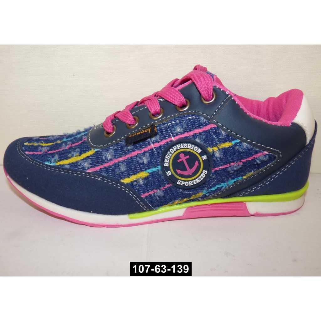 Джинсовые кроссовки для девочки, 30-31 размер, кожаная стелька, супинатор, 107-63-139