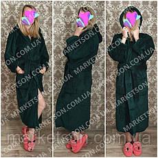 Махровый длинный женский банный халат с капюшоном, на запах р.42-62, фото 2