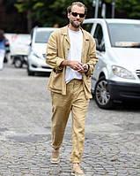 Мужской пиджак свободный, летний. Пиджак -куртка из льна большого размера