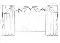 эскиз оформления окна в гостиную (тюль, шторы, декор. ракушки, кисти)