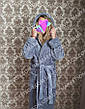 Махровый длинный женский банный халат с капюшоном, на запах р.42-62, фото 6