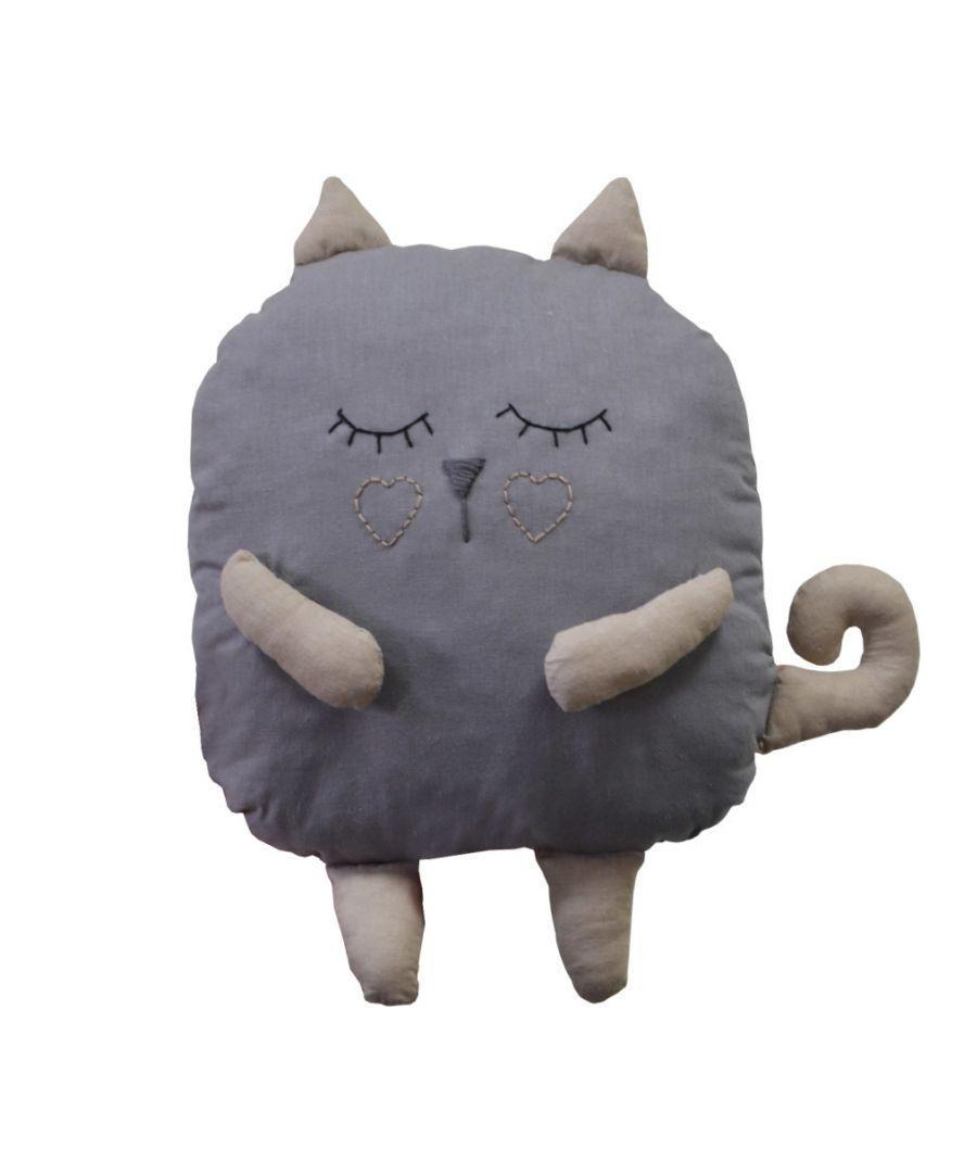 Подушка-игрушка декоративная Котик серый 32 см