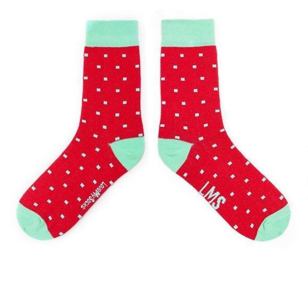 Яскраві червоні шкарпетки з квадратами від LMS