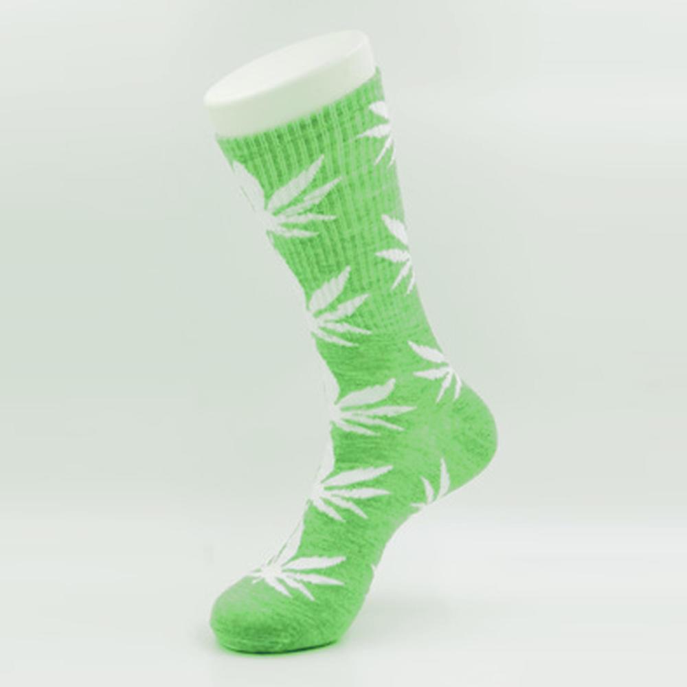 Салатовые носки HUF в белый лист