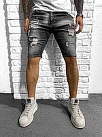 Мужские джинсовые шорты черные, фото 1