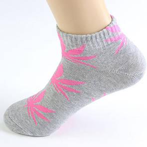 Короткие носки HUF серого цвета в розовый лист