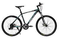 """Велосипед Oskar 26"""" EXPLORER 1.0 черно-голубой (рама - алюминий, переключатели Snimano)"""
