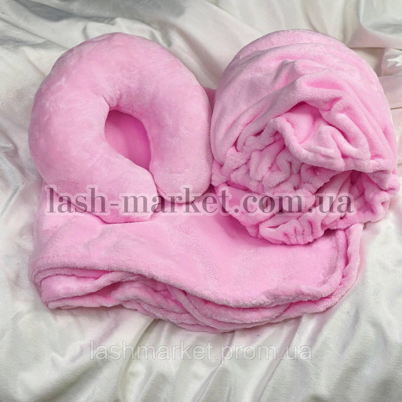 """Набор 3в1: чехол на кушетку, плед, подушка(махра) """"Нежно розовый """""""