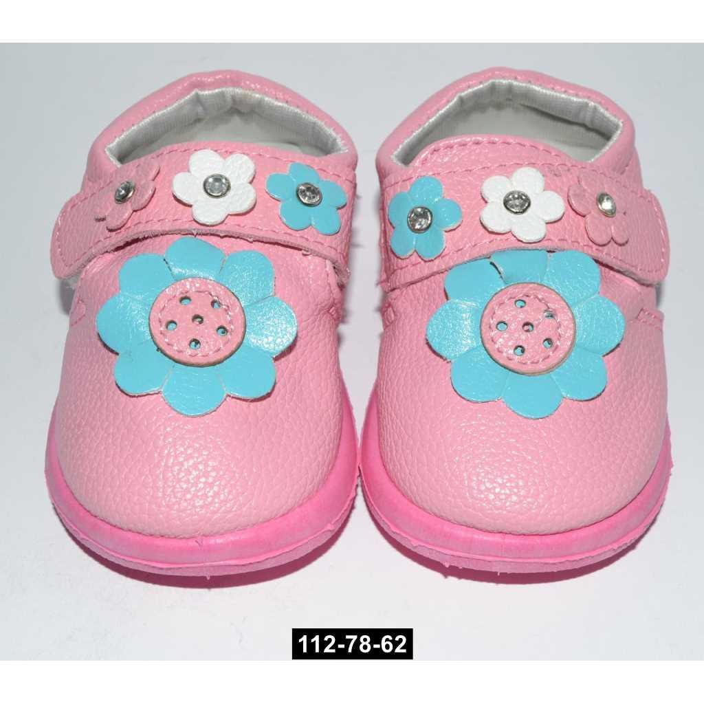 Туфельки, мокасины, пинетки для девочки, 18 размер / 12.8 см, кожаная стелька, супинатор, 112-78-62