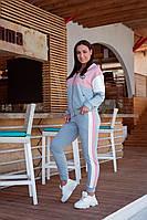 Костюм спортивный х/б двунить Турция серый с розовым полу-батал