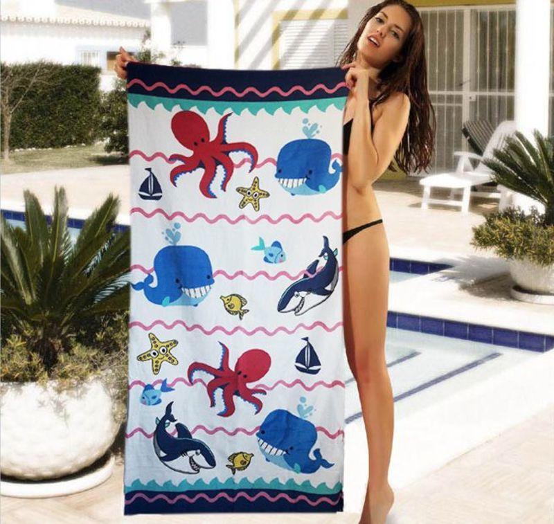 Прикольное детское полотенце с морскими обитателями