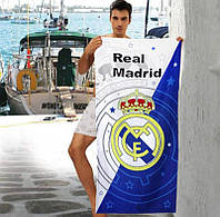 Мужское пляжное полотенце бело-синее Real Madrid