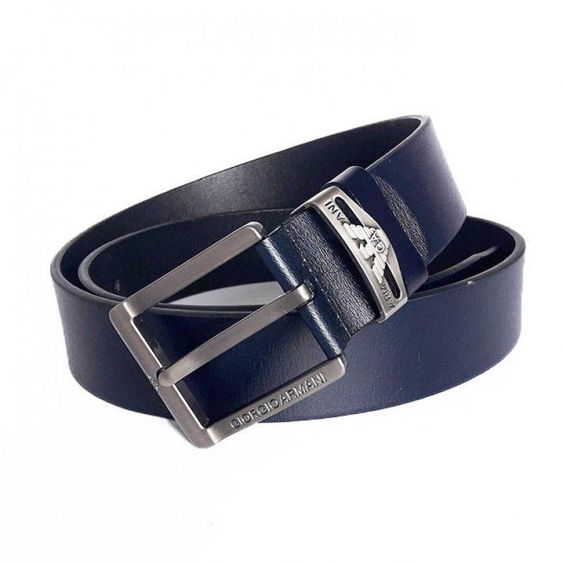 Темно-синий кожаный мужской ремень Giorgio Armani