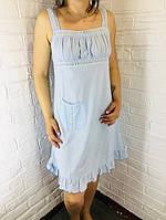 Женская ночная сорочка хлопок  голубая 284 42-46