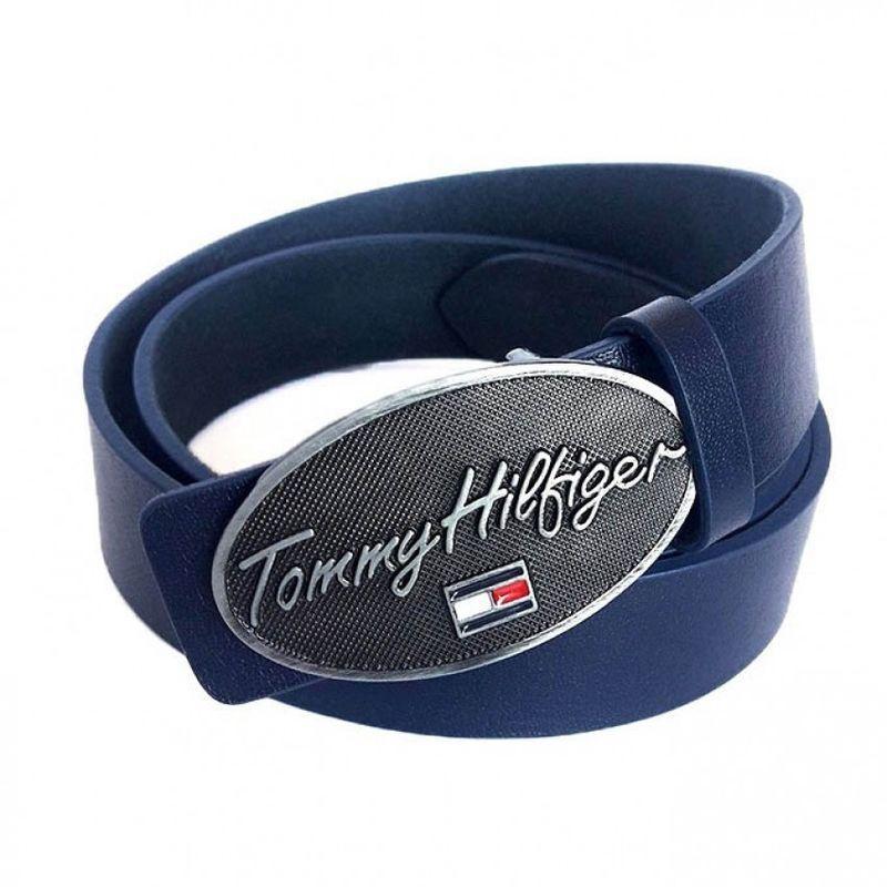 Кожаный ремень темно-синего цвета Tommy Hilfiger