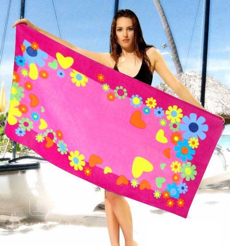 Розовое пляжное полотенце Shamrock
