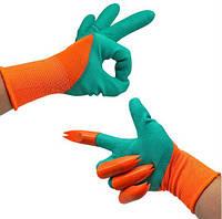 Садовые перчатки с раздвоенными когтями Garden Genie Gloves (зелёный/оранжевый)