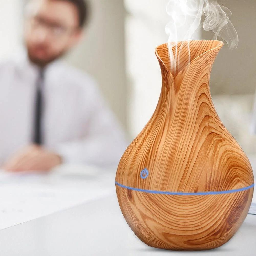 Увлажнитель воздуха КОРИЧНЕВЫЙ Humidifier Ultrasonic Aroma c подсветкой и аромадиффузором