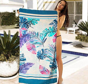 Женское пляжное полотенце с растительным принтом