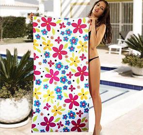 Женское пляжное полотенце с цветочным принтом